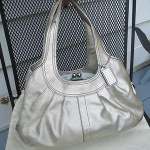 Coach Silver Platinum Leather Kisslock Tote Bag